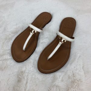 Tory Burch T Logo Flat Leather Thong Sandals